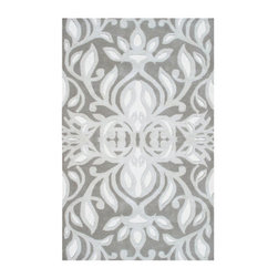 Grandin Road - Antoinette Area Rug - 5' x 8' - Clean and elegant hues of silver and white on a medium gray ground. Patterning so detailed, each glance reveals something new. Features premium hand tufting of pure wool yarns embellished with art silk accents. Professional cleaning recommended. Bright and intricately patterned, our Anoinette Area Rug is an instant showpiece. Roll out a new focal point with ease, in a variety of spaces, courtesy of three versatile sizes.  .  . .  . Imported