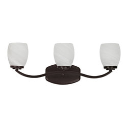 Chloe - Transitional Three-light Dark Rubbed-Bronze Bath Bar with Curved Arms - Illuminate your bathroom with this rubbed bronze three-light bath bar. Made with three elegant, curved arms, this stylish fixture comes with three white alabaster lamp shades that create a bright, fresh light that flatters your face.