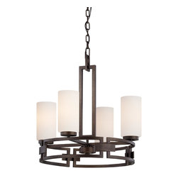 Designers Fountain - Transitional 4 Light Up Lighting Chandelier - The Del Ray collection features clean lines blend with curves of hand worked metal to create the Del Ray collection, embracing today's casual style, clean and elegant. Elongated glass silhouettes in an Ivory Pearl finish and Ivory fabric shades creates a warm and welcoming environment. A perfect blend of form and function.