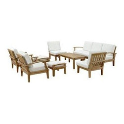 """LexMod - Marina 10 Piece Outdoor Patio Teak Sofa Set in Natural White - Marina 10 Piece Outdoor Patio Teak Sofa Set in Natural White - Harbor your greatest expectations with this luxurious solid teak wood outdoor set. Marina has a seating arrangement perfect for every member of your crew as you breathe the fresh crisp air of a day spent with friends and family. Known for its natural ability to withstand extreme weather conditions, teak is the wood selection of choice for long-lasting outdoor furnishings. Now you can enjoy Marinas durable construction and all-weather cushions, alongside a modern design that persistently looks new and welcoming. Zoom in on the product image before you, and see the exquisite texture and detail for yourself. Set Includes: One - Marina Teak Left-Arm Sofa One - Marina Teak Rectangular Coffee Table One - Marina Teak Right-Arm Sofa Three - Marina Teak Middle Sofa Two - Marina Teak Armchair Two - Marina Teak Ottoman Solid teak wood construction, Richly textured wood graining, Water & UV Resistant Cushions, Machine Washable Covers Overall Armchair Dimensions: 31.5""""L x 32.5""""W x 31.5""""H Overall Right-Arm Sofa Dimensions: 30.5""""L x 32.5""""W x 31.5""""H Overall Left-Arm Sofa Dimensions: 30.5""""L x 32.5""""W x 31.5""""H Overall Middle Sofa Dimensions: 25""""L x 32.5""""W x 31.5""""H Overall Coffee Table Dimensions: 23.5""""L x 47""""W x 17.5""""H Seat Dimensions: 31""""L x 26""""W x 12""""HBACKrest Height: 20""""H Armrest Height: 12""""H Floor to underside of table: 14.5""""H Table top thickness: 1""""H Overall Product Dimensions: 150""""L x 120""""W x 31.5""""H Overall Ottoman Dimensions: 23.5""""L x 21""""W x 11""""H - Mid Century Modern Furniture."""