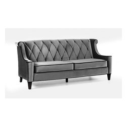None - Modern Grey Velvet Sofa - Generate a comfortable atmosphere in your home with this modern take on a retro sofa. This grey velvet fabric couch features a button-tufted back with a diamond pattern and espresso wood legs.