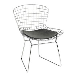 Home Decorators Collection - James Side Chair - So many of the wire chairs out there might leave an unfortunate pattern on your backside, but these have a streamlined leather pad to ensure you have a comfortable seat, both coming and going.