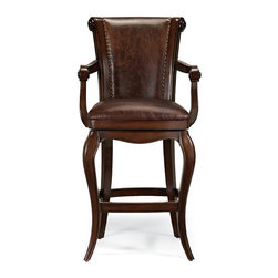 Frontgate - Saratoga Bar Stool - Artisans spend four hours hand carving the ornamental leather back. Finished with nailhead trim. Lifetime guaranteed, 180-degree swivel. Imported. The unique, hand-tooled leather panel makes our Saratoga Barstool as handsome from the back as it is from the front. Designed for extended comfort, the roomy seat is thickly padded and covered in full-grain, aniline-dyed leather..  .  . .