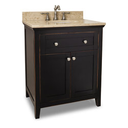 "Hardware Resources - Jeffrey Alexander Vanity W/Preassembled Top & Bowl,Aged Black, 30"" X22"" X 36"" - Jeffrey Alexander Vanity with Preassembled Top and Bowl by Hardware Resources"