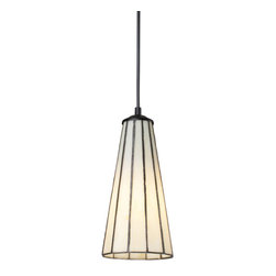 Comet Lamp - Turn lighting on its head with the Comet Lamp. Reminiscent of a classic standing lamp, this upside-down design, featuring a mix of white cut glass and a matte black trim is modern and chic. The elegant glass cone pendant will shed light on any interior setting, and the color combination keeps it classic.