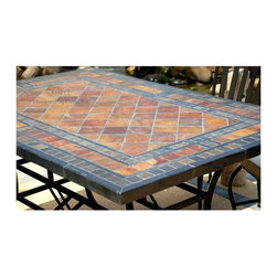 "STONE GARDEN PATIO MOSAIC SLATE TABLE 78""-MAPLE - Reference: OT951-20-US+OTB3-20-US"