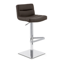 """Zuri Furniture - Lattice Square Base Swivel Bar Stool, Brown - The Lattice Square Base bar stool is a contemporary masterpiece. The one piece seat is superbly well padded with high density foam for high levels of comfort and is covered in soft faux leather. The seat is wide and accommodating and has an incorporated medium height backrest for extra support, making it a very relaxing place to sit. The plush seat is segmented at regular intervals by stitched grooves, resulting in a stunning effect with immense visual impact, making it an eye-catching item of furniture that will always garner interest from visiting friends or guests. A hand crafted footrest, fashioned from tubular steel and plated in chrome sits on a chrome stem, enhancing the overall look of this bar stool and giving an ideal location to place your feet. The Lattice Square Base is perfect use around the home, in a kitchen bar or breakfast bar, the Lattice Square Base is as functional as it is stylish with an adjustable height gas lift and 360 degree swivel mechanism. A large square base gives the Lattice Square Base bar Stool excellent stability and has a rubber ring beneath to protect your floor. The Lattice Square Base bar stool seat height adjusts from 22""""-32"""" and the back height adjusts from 30""""-40"""" Please Note: The Lush is a similar stool in a brushed steel finish. Weight capacity of 275 lbs."""