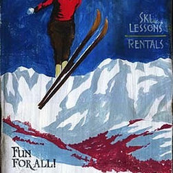 Red Horse Signs - Nostalgic Ski Lodge Signs, Large 20x32 - Nostalgic  Signs  for  the  Ski  Bum  -  Personalize  for  the  Resort  of  Your  Choice,  20x32          Nostalgic  Ski  Lodge  Signs  crafted  to  look  like  original  antiques.  This  sign  measures  14x26  and  includes  the  text,  Sun  Valley,  Ski  Lessons,  Rentals          Each  of  these  vintage  signs  is  painted  directly  onto  distressed  wood  panels,  creating  a  replica  that  looks  like  a  hand-painted  antique.  Customize  the  wording  on  your  sign  by  calling  our  toll-free  customer  service  line  at  888-OLD-BARN.          Please  allow  2-3  weeks  for  delivery.