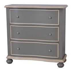Crestview - Crestview CVFZR853 Dover Grey and White 3 Drawer Chest - Dover Grey and White 3 Drawer Chest Dover Grey and White 3 Drawer Chest 36*14*36 Accent Furniture   36*14*36