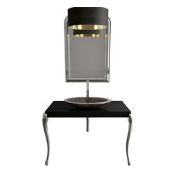 Maestrobath - Bathroom Console, Black and Silver Leaf - Besides very elegant and contemporary design, this luxury Italian bathroom console is made of wood and is extremely durable. The top finish is glossy black paint, and legs finish of this contemporary bath console is leaf paint. This luxury bathroom console is a gorgeous addition to a modern bathroom or even a classic one. Console only; mirror and sink not included.