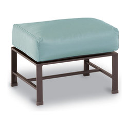 Thos. Baker - Terrace Outdoor Cushion Ottoman Navy Cushion - Masterfully crafted to combine beauty and function, our high-performance wrought aluminum  terrace collection is hand-welded, highly durable and virtually maintenance-free.  The dark chocolate powder-coat is an excellent choice for elegant outdoor lounging and dining sets.Plush Sunbrella cushion sets included where applicable. Choose quick ship in khaki with cocoa piping, stone green or choose from our made-to-order fabric options.