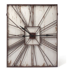 Rustic Reach Clock - This handsome clock gives your wall a dose of texture and rustic tone with distressed metal and antique white. The Roman numerals stretch out for a touch of casual cool style.