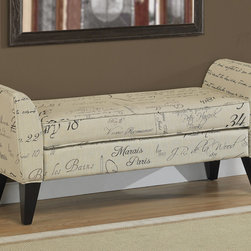 None - Phoenix Signature Tan Upholstered Bench - Add extra seating and a beautiful accent to your home with compact upholstered bench that tucks into tight spaces. A sturdy hardwood frame in rich espresso supports cotton-poly upholstery featuring French script in black and brown against a light tan.