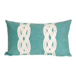 "Trans-Ocean Inc - Double Knot Aqua 12"" x 20"" Indoor Outdoor Pillow - The highly detailed painterly effect is achieved by Liora Mannes patented Lamontage process which combines hand crafted art with cutting edge technology. These pillows are made with 100% polyester microfiber for an extra soft hand, and a 100% Polyester Insert. Liora Manne's pillows are suitable for Indoors or Outdoors, are antimicrobial, have a removable cover with a zipper closure for easy-care, and are handwashable.; Material: 100% Polyester; Primary Color: Aqua;  Secondary color: white; Pattern: Double Knot; Dimensions: 20 inches length x 12 inches width; Construction: Hand Made; Care Instructions: Hand wash with mild detergent. Air dry flat. Do not use a hard bristle brush."