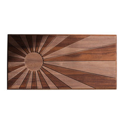 DMWR - Rising Sun Wall Art - Hand carved into two-toned solid walnut, this radiant sun adds instant warmth to the room. Its bold, simple design and natural aesthetic will complement almost any decor style. Surround it with folk art or pop art, with rustic woods or bright metallics — it'll shine anywhere you hang it.