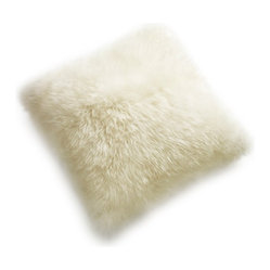 "24"" Square Sheepskin Pillow, Ivory"