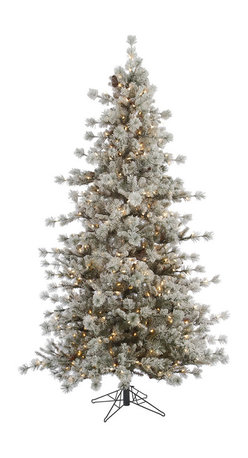 """Vickerman - Flocked Anchorage 600CL Dura-Lit (7.5' x 52"""") - 7.5' x 52"""" Flocked Anchorage Pine Tree , 1397 PVC tips, 600 Clear Dura-Lit Lights, metal stand. Dura-lit Lights utilize microchips in each socket so bulbs stay lit even when some bulbs are broken or missing."""