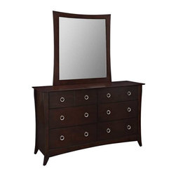 Modway - Elizabeth Dresser and Mirror in Cappuccino - Whispered elegance blends with a touch of nostalgia in this exquisitely crafted bedroom set. The Elizabeth series presents a rich espresso brown finish, with a classic tapered leg design, to provide you with comfort during both the daytime and nighttime hours. Each piece contains antique-varnished wood paneling that is inset to bring prominence to the outer borders. The Elizabeth series requires assembly, and should be wiped clean with either a dry cloth, or something intended for wood furnishings.