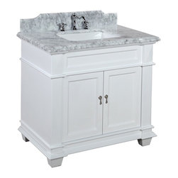 Kitchen Bath Collection - Elizabeth 36-in Bath Vanity (Carrara/White) - This bathroom vanity set by Kitchen Bath Collection includes a white cabinet with soft-close drawer and self-closing door hinges, Italian Carrara marble countertop with stunning beveled edges (an incredible 1.5 inches thick at the edge!), undermount ceramic sink, pop-up drain, and P-trap. Order now and we will include the pictured three-hole faucet and a matching backsplash as a free gift! All vanities come fully assembled by the manufacturer, with countertop & sink pre-installed.