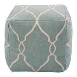 18 x 18 Fallon Slate Blue Pouf - An inviting expression of a color with traditional meanings that range from nautical themes and the grace of coastal living, to French provincial decor and the timeless chic of a classic piece, to the delicate sky shades of feminine sun porches, the Fallon Slate Blue Pouf is a graceful inclusion in any space. Softly stuffed and plumply sewn, it incorporates an off-white Moroccan pattern into its luxurious 100% wool weave for blending beauty.