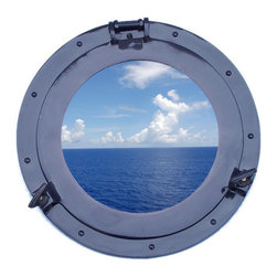 Handcrafted Nautical Decor - Deluxe Class Dark Blue Porthole Window 15'' - This Brass Deluxe Class Porthole    Window 15'' - Dark Blue  adds sophistication, style, and charm for those       looking  to   enhance       rooms with a nautical theme. This boat      porthole   has a   sturdy,  heavy and      authentic appearance, and is      made of brass and  glass which can easily be hung to grace any    nautical    theme wall. Our nautical   porthole window     makes  a   fabulous style    statement in any room  with    its classic  round        frame, nine    metal-like rivets and two  dog  ears.   This marine    porthole mirror        has an 10'diameter and 3'deep when dog-ears are    attached, 1.5'' deep    without dog ears   attached.----Dimensions: 15'Long x 3'Wide x 15'High--NOTE: This is a decorative porthole window (the    center is clear glass which can be left in port hole or taken out).    Mounting hardware not included with purchase.----    Functional porthole window that will open and close by loosening dog ears--    --    Handcrafted from solid brass and hand-painted a dark blue finish by our master artisans--    Decorative yet fully functional port hole window decoration--    Realistic nautical decor - modeled after an antique 19th-century ship's porthole--    --    Great porthole wall decor and an instant conversation piece--