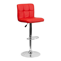 Flash Furniture - Flash Furniture Barstools Residential Barstools X-GG-DER-DOM-018-SD - This sleek dual purpose stool easily adjusts from counter to bar height. The simple design allows it to seamlessly accent any area in the home. Not only is this stool stylish, but very comfortable to provide you with an amazing sitting experience! The easy to clean vinyl upholstery is an added bonus when stool is used regularly. The height adjustable swivel seat adjusts from counter to bar height with the handle located below the seat. The chrome footrest supports your feet while also providing a contemporary chic design. [DS-810-MOD-RED-GG]