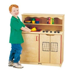 """Jonti-Craft Kydz™ Kitchen Activity Center - The Kydz"""""""" Kitchen Activity Center combines a sink range and cupboard to complete a personal kitchenette for your child! This set has a range with four play burners with dial controls an oven with two side-by-side doors a turntable wooden faucet and even a pull-out wooden sprayer. Cupboards add authenticity to this set and provide a place for your child to organize kitchen accessories. A kitchen play set will stimulate your child's creativity as they experiment in a safe environment and this kitchen set has an authenticity that other sets lack. Order today to get this imaginative set for your child."""