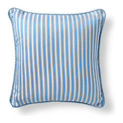 Frontgate - Belmar Stripe Blue Outdoor Pillow - 100% Sunbrella® solution-dyed acrylic woven fabric. Finished with Aruba/Natural twisted cord. Resists fading, mold and mildew. High-density polyester fill. Spot clean with mild soap and water; air-dry only. Pretty enough to use inside and durable enough to place outside, our Sunbrella Belmar Stripe Aruba Outdoor Pillow makes a classic and sophisticated statement in both settings. Filled with high-density polyester and finished with a beautiful twisted cord, this plush pillow will delight throughout the seasons.100% Sunbrella solution-dyed acrylic woven fabric. . . . . Zipper closure. Made in the USA.