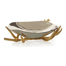 Kathy Kuo Home - Theron Hollywood Regency Gold Branches Silver Decorative Bowl - Nature reminds everyone of the simple pleasures in life, sometimes stunning us with the beauty of her most humble forms.  Branches are a great example of this, and a form often echoed in interior design.  From the bases of tables to decorative flourishes like the cast metal branch supporting this polished aluminum bowl, the beauty and vitality of this enduring motif never fade.