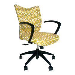 9 to 5 Seating - Upholstered Office Chair - It won't feel like work when you sit down in this number. With plush upholstery and a chic pattern, plus curved arms and swivel/tilt motion, you'll be impressively productive.