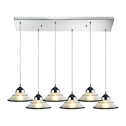 Elk Lighting - Refraction 6-Light Pendant in Polished Chrome and Etched Clear Glass - Refraction 6-light pendant in polished chrome and etched clear glass