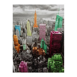 Oriental Furniture - High-Lights of New York Skyline Canvas Wall Art - Black and white Manhattan cityscape with select skyscrapers colorized using a palette of vibrant pinks, green, blues and oranges. Originally photographed with a red filter to enhance the dramatic clouds in the sky.
