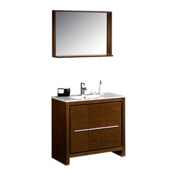 """Fresca - Fresca Allier Modern Sink Bathroom Vanity, Wenge, 36"""" - The Fresca 36"""" Allier is a sleek, modern free standing vanity with plenty of storage space. This model is accented nicely with a matching mirror with small shelf."""