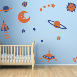 Cherry Walls - Space Theme Decal Stickers - Explore new worlds on a celestial adventure. What exciting discoveries will be made in a nursery or playroom featuring this vivid portrayal of outer space? Arrange these wall decals of stars, planets, spaceships and more to delight the kids — and also adults who appreciate a playful sense of style.