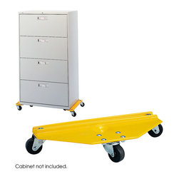 "Safco - Furniture Movers - Yellow - This pair of tough steel dollies makes it easy to move cabinets, files, furniture or other bulky and heavy objects. Thick steel frame is supported by swivel casters that allow maneuverability in tight areas. 1000 lb. maximum load capacity per set. The platforms center is recessed to secure furniture legs. Non-mar. skid-resistant Yellow vinyl finish.; Features: Material: Steel; Color: Yellow; Finished Product Weight: 17 lbs.; Assembly Required: No; Limited Lifetime Warranty; Dimensions: 20""W x 8 1/4""D x 4 1/4""H"