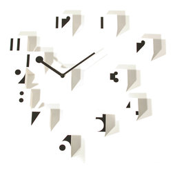 Progetti - RND Time Optical 1343 White Wall Clock - Wall clock, small cubes in nylon. Battery quartz movement. Small cubes may be assembled randm on the wall.