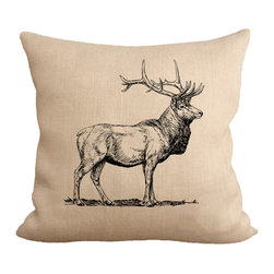 Fiber and Water - Elk In The Wild Pillow - The largest species of deer in the world and one of the largest land mammals in North America. Elk are a great symbol of strength and this print depicts that well. Hand-pressed onto natural burlap using water-based inks.