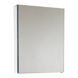 """Fresca - Fresca 20"""" Wide Bathroom Medicine Cabinet w/ Mirrors - Dimensions:  19.5""""W x 26""""H x 5""""D. 2 Glass Shelves. Mirrored Door. Recessed Mounting Option. . . . . This 20"""" medicine cabinet features mirrors everywhere.  The edges have mirrors and also on the interior of the medicine cabinet.  The inside features two tempered glass shelves.  Can be wall mounted or recessed into the wall."""