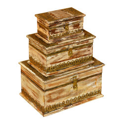 Sierra Living Concepts - Wood & Brass 3 Stacking Treasure Jewelry Nested Boxes - We created a tower of solid wood keepsake boxes so you'll have a plenty of places to keep all your treasures. Each box has a rustic dessert sand surface trimmed with ornate brass on the bottom and top.