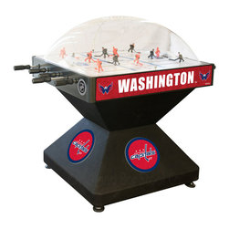 Holland Bar Stool - Holland Bar Stool DHWshCap Washington Capitals Dome Hockey - DHWshCap Washington Capitals Dome Hockey belongs to NHL Collection by Holland Bar Stool Holland Bar Stool's Officially Licensed Dome Hockey game provides hours of entertainment for the hockey fan of any level. Game is badged with your favorite team's logo on the base, sides, and at center ice. Our high-performance rod assembly underneath the surface transfers your twisting motion with a 2:1 ratio onto your players for the most responsive game play, and the clutch system prevents damage to the players when battling the opposition. TPR octagonal, sure-grip handles are attached to high-tensile steel rods that are ground and plated, maneuvering ABS players who are steel re-enforced to provide you with a long lasting game. Side mounted scoring unit provides a variety of game modes, Base includes adjustable levelers. When completing your game room, show your team pride with a Dome Hockey table from the Holland Bar Stool Company. Dome Hockey (1)