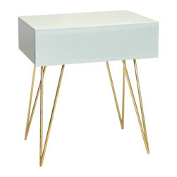Worlds Away - Worlds Away Ice Glass Side Table with Gold Leafed Hairpin Legs DEBRA ICEG - Ice finish may take on a bluish or greenish cast depending on surrounding lighting and colors it is placed next to. Finish is not �white�.