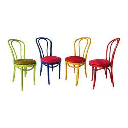 """Pre-owned 4 Vintage Bentwood Cafe Chairs in Marimekko - Color Pop!    Vintage bones re-imagined in today's mod colors.   This fabulous set of four bentwood chairs have been artfully painted and re-upholstered in coordinating Marimekko textiles.  Set includes one of each chair in Yellow, Green and Red and Blue.     Seat is 18"""" H."""
