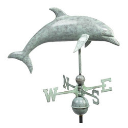 Good Directions, Inc. - Good Directions Dolphin Weathervane - Blue Verde Copper - This playful dolphin arches beautifully as it emerges from the sea to grace the rooftop of your house, barn, garage, or copula. Our Good Directions artisans use Old World techniques to handcraft this fully functional, standard-size weathervane that's unsurpassed in style, quality and durability. A great gift for marine enthusiasts!