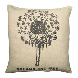 """Sugarboo Designs - Dreams Are Free Throw Pillow - Plush, oversized pillow displays a message to share with those you love: """"Dreams Are Free"""". Pillow measures 24"""" x 24"""" and is made of stone wash linen.   About the Artist: Rebecca Puig is the artist behind Sugarboo Designs. Sugarboo is a family business that Rebecca and her husband, Rick, started in 2005. The name """"Sugarboo"""" came from a couple of nicknames she has for her children, Jake and Sophie. They are the main inspiration for Sugarboo because Rebecca always wants to create products that remind us of the ones we love. As a little girl, Rebecca loved to paint and create things. She attended the University of Georgia graduating with a Studio Art degree. Rebecca is inspired by her family, nature, animals, old things, childrens' art and folk art. She also loves juxtaposing old and new, light and dark, serious subject matter with fluff and anything with a message. Rebecca believes in putting good out into the world whenever possible. Her hope is that each Sugarboo piece she creates will add a little good into the world.   Product Details:"""