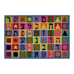 Fun Rugs - Hebrew Numbers and Letters Multicolor Rug - Your child's room is a natural extension of them. Add these innovative designs from LA Rug to spruce up any child's decor.