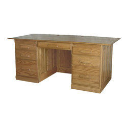 """Chelsea Home Furniture - Chelsea Home Seton 72 Inch Hall Flat Top Desk in Red Oak - The solid wood construction of this Seton Hall Flat Top Desk in red Oak is detailed, clean and contemporary with its matching wooden hardware and Smoked Sand finish. With 24"""" of space under the pull out pencil drawer, you won't have to worry about getting bruised knees while you work. This desk is spacious and comfortable for all your everyday needs! Chelsea Home Furniture proudly offers handcrafted American made heirloom quality furniture, custom made for you. What makes heirloom quality furniture? It's knowing how to turn a house into a home. It's clean lines, ingenuity and impeccable construction derived from solid woods, not veneers or printed finishes over composites or wood products _ the best nature has to offer. It's creating memories. It's ensuring the furniture you buy today will still be the same 100 years from now! Every piece of furniture in our collection is built by expert furniture artisans with a standard of superiority that is unmatched by mass-produced composite materials imported from Asia or produced domestically. This rare standard is evident through our use of the finest materials available, such as locally grown hardwoods of many varieties, and pine, which make our products durable and long lasting. Many pieces are signed by the craftsman that produces them, as these artisans are proud of the work they do! These American made pieces are built with mastery, using mortise-and-tenon joints that have been used by woodworkers for thousands of years. In addition, our craftsmen use tongue-in-groove construction, and screws instead of nails during assembly and dovetailing _both painstaking techniques that are hard to come by in today's marketplace. And with a wide array of stains available, you can create an original piece of furniture that not only matches your living space, but your personality. So adorn your home with a piece of furniture that will be future histor"""