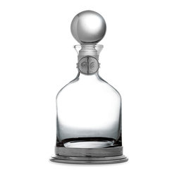 Taverna Small Round Decanter - Whatever beverage you care to serve, the classic grace of the Taverna Small Round Decanter is the perfect presentation.  Traditional Italian craftsmanship unifies the glass body and pewter accents of this high-end decanter, making it flawlessly graceful despite a bottom-heavy structure that suggests antique articles of formal dining service.
