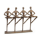 Danya B. - Ballet Quartet Bronze Sculpture - This elegant cast bronze sculpture of a group of ballerinas will delight you with its grace. Elegant, artistic and contemporary in feel and design, it is handcrafted and casted using the sand casting method. Great gift for the dance aficionado.