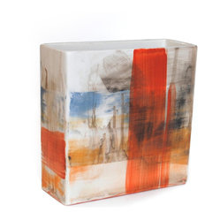 Gail Garcia Dinner-Ware - Rectangular Vase, Red/Blue/Orange - A plain earthenware vase becomes a compelling abstract canvas in the hands of New York artist Gail Garcia. This hand-painted vessel stretches that vision into three dimensions, offering captivating compositions on every side. A true work of art for your tabletop, and beautiful with or without flowers.
