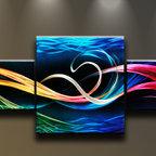 Matthew's Art Gallery - Metal Wall Art Abstract Modern 3 panels Sculpture Ocean Colors - Name: Ocean Colors